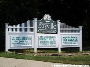 Sayville welcome sign