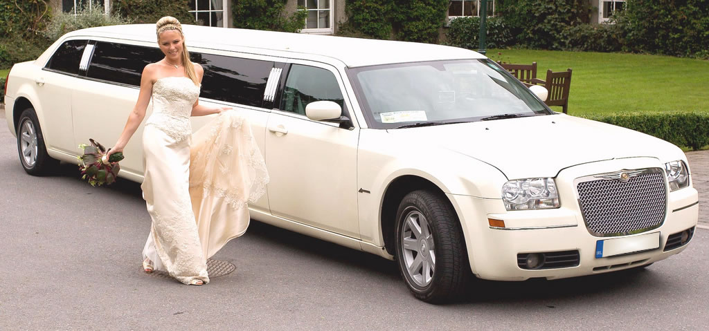 white wedding limo